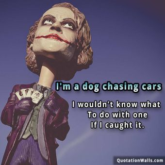Attitude quote whatsapp: I'm a dog chasing cars. I wouldn't know what to do with one if I caught it.