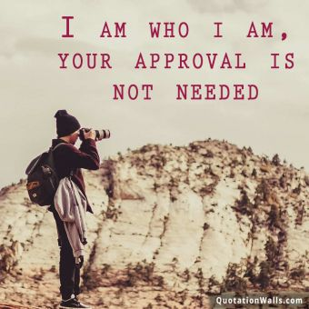Attitude quote whatsapp: I am who i am, your approval is not needed.