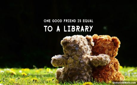 Life quote desktop: One good friend is equal to library