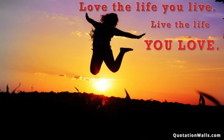 Love quote: Love the life you live. Live the life you love.