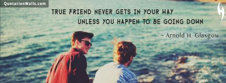 Brother quote: True friend never gets is your way unless you happen to be going down.