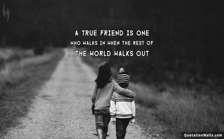 Life quote desktop: A true friend is one who walks in when the rest of the world walks out.