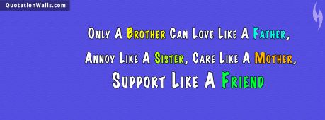 Sister quote: Only A Brother Can Love Like A Father, Annoy Like A Sister, Care Like A Mother, Support Like A Friend.
