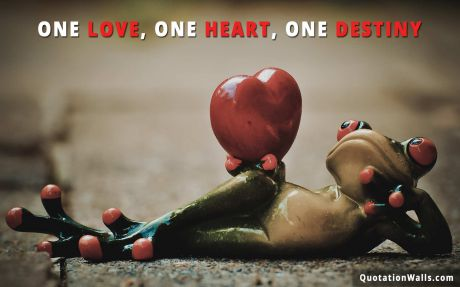 Love quote: One love, one heart, one destiny.