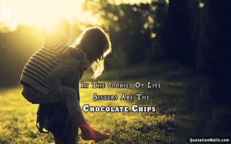 Love quote mobile: In the cookies of life, sisters are the chocolate chips.