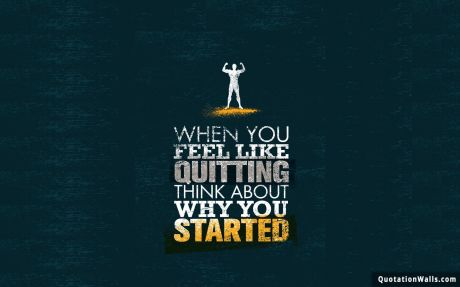 Motivational quote desktop: When you feel like quitting think about why you started.