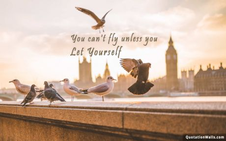 Motivational quote mobile: You can't fly unless you let yourself