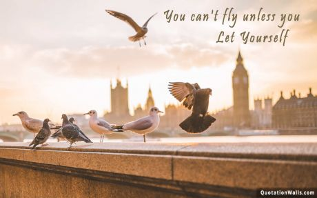 Motivational quote desktop: You can't fly unless you let yourself
