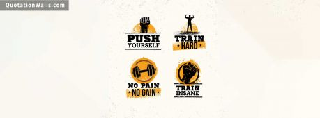 Motivational quote cover: Push Yourself. Train Hard. No Pain no gain. Train Insane