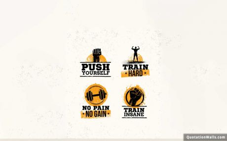 Motivational quote desktop: Push Yourself. Train Hard. No Pain no gain. Train Insane