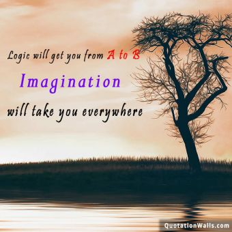 Inspirational quote: Logic will get you from A to B. Imagination will take you everywhere.