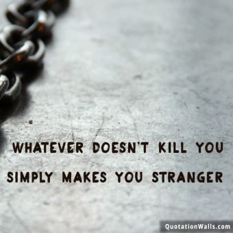 Alone quote: Whatever doesn't kill you simply makes you stranger.