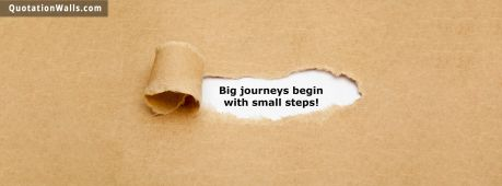 Motivational quote cover: Big journey begins with small steps