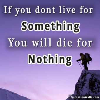 Motivation quote: If you dont live for something you'll die for nothing