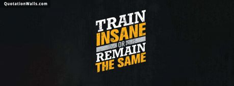 Motivational quote cover: Train insane or remain the same.